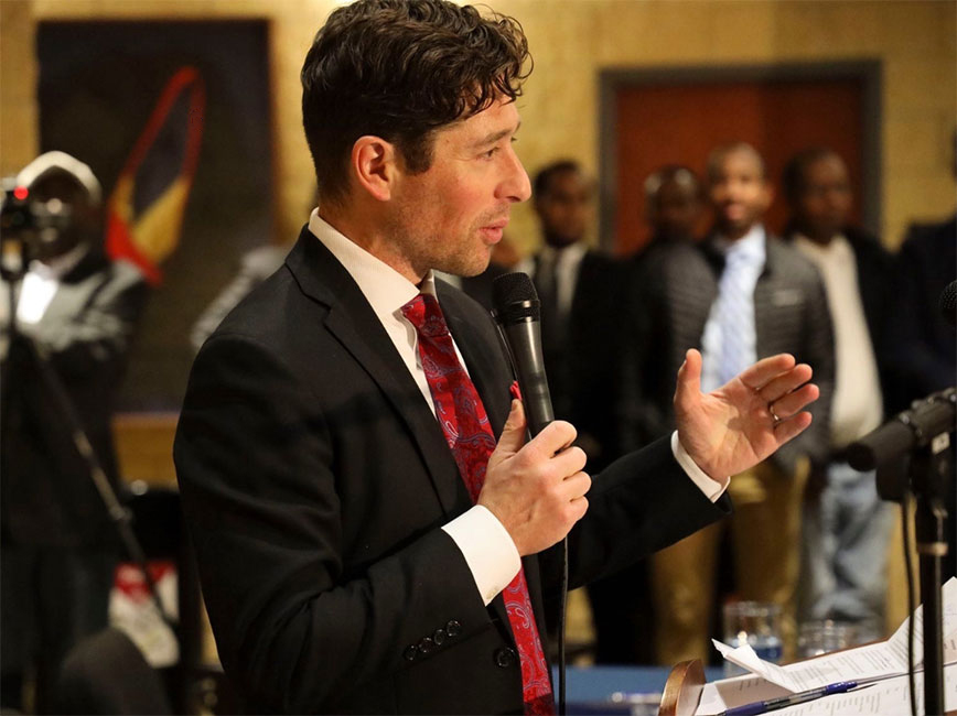 Jacob Frey responds to questions at a press conference