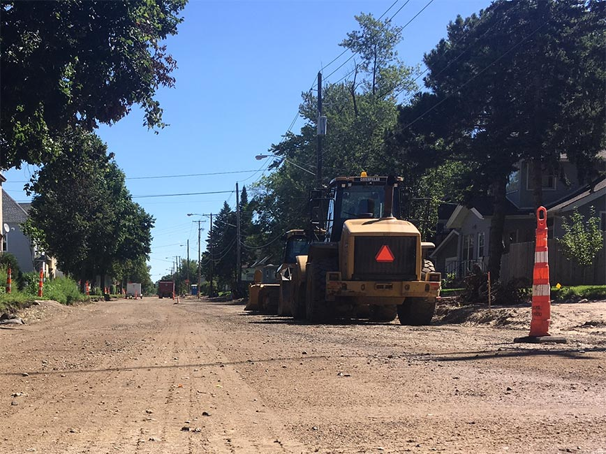 Public Works completely reconstructing road and replacing aging pavement